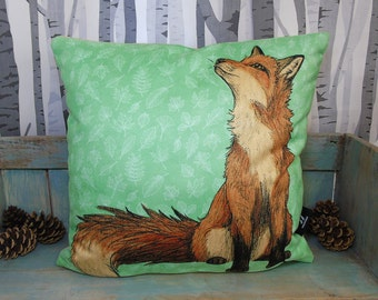 Red Fox Illustration Vegan Cushion Cover - Faux Suede 45 x 45cm