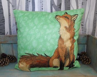 Red Fox Illustration Vegan Throw Pillow - Faux Suede 45 x 45cm