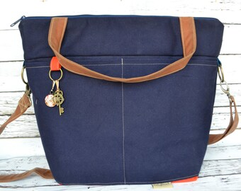Camera bag  / Large - Outdoor Canvas in Navy Blue and Orange by Darby Mack  waterproof  USA Made