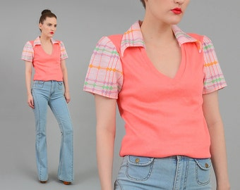 70s Peach Pink Deep V Neck Shirt Fitted T-shirt Vintage Plaid + Floral Retro Collared Short Sleeve Top Small s