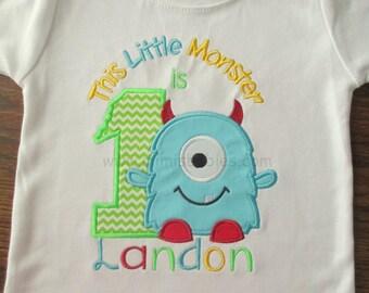 Little Monster is 1 Birthday Shirt, Monster Birthday Shirt, This Little Monster is One