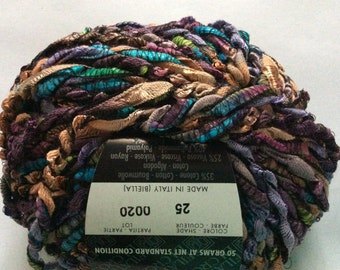Filatura di Crosa Sesamo #25 Purple Green Blue Brown Twist Ribbon Yarn 50 Gram, 71 Yards Bulky Soft Rayon Nylon Yarn