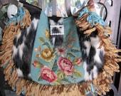 Vintage Needlepoint Roses, Loop Ribbon, Western, Boho, Velvet Chenille and Cowhide Handbag