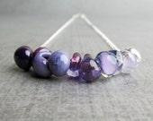 Purple Necklace, Purple Ombre Necklace, Lampwork Necklace, Lavender Necklace, Bead Bar Necklace, Sterling Silver Handmade Necklace
