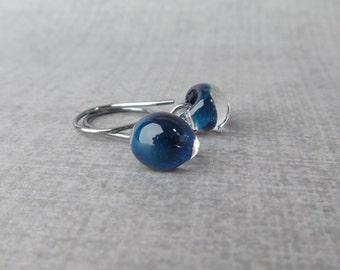 Small Navy Blue Earrings, Blue Dangle Earrings, Dark Blue Dangles, Oxidized Wire Earrings, Lampwork Earrings Navy Blue, Sterling Silver Navy