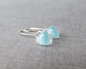 Small Powder Blue Earrings, Blue Dangle Earrings, Earrings Silver Blue, Sterling Silver Wire Earrings, Lampwork Earrings, Silver Earrings