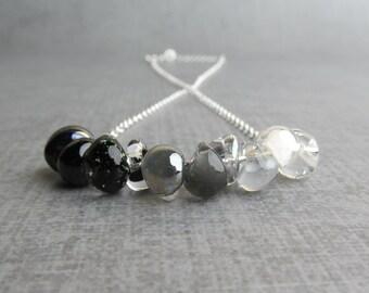 Monochrome Black White Gray Necklace, Raven Black Sparkle Gunmetal Storm Ash Gray Pearly White Snow, Lampwork Necklace, Sterling Silver