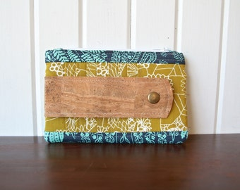 Wisteria Wallet in Mustard Yellow and Teal with Cork Leather strap