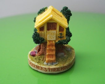 Tree House Miniature Yellow Whimsical Quirky With Keep Out Sign