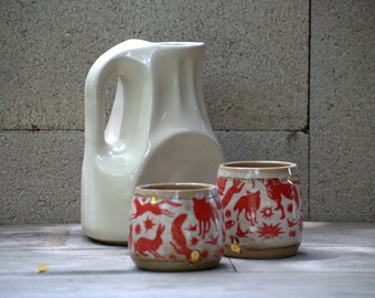 Unique Ceramic pitcher and cup set, pottery serving pitcher,  wedding gift - MADE TO ORDER