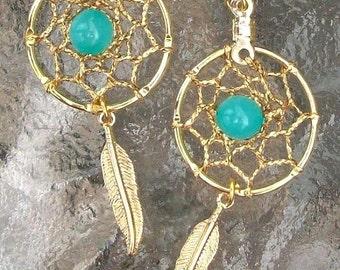 ON SALE Gold & Aqua bead dream catcher earrings -   Aqua Beauty l