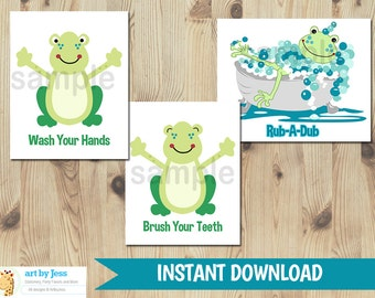 Frog Bathroom Wall Art Set of 3 | Wash your Hands | Brush Your Teeth | Rub a Dub INSTANT DOWNLOAD Printable Art