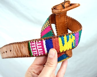 Vintage Leather Guatemalan Rainbow Tooled Woven Fabric Belt - Size 28