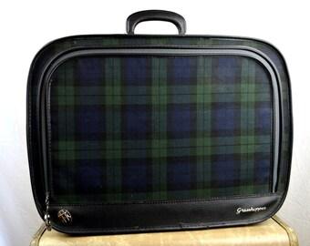 Vintage Plaid 1960s Luggage Suitcase Travel Case - Grasshopper