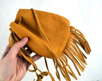 Vintage Suede Leather Fringe Pouch Bag Purse