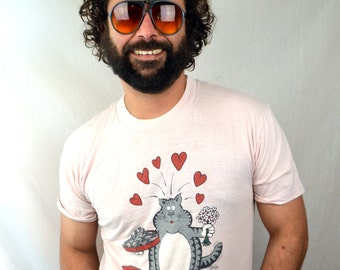 Vintage Love Heart Cute Cat Cartoon Tee Shirt Tshirt