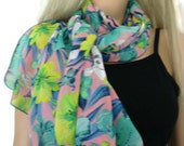 Hibiscus and Orchids-Mint, pink blue and yellow Long tropical floral chiffon scarf -Parisian Neck Tissu