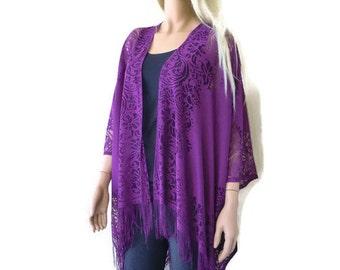 Plum Purple Grape Bohemian Lace Kimono -Fruity Purple-Fringe kimono cardigan-Oversize kimono
