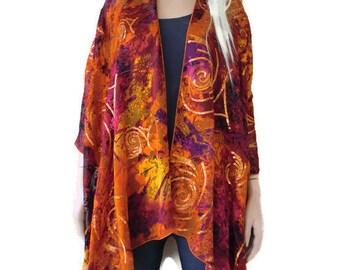 Fire -Oversize bohemian Kimono cardigan-Silky Italian burnout chiffon Ruana -Exclusively by textilemonster