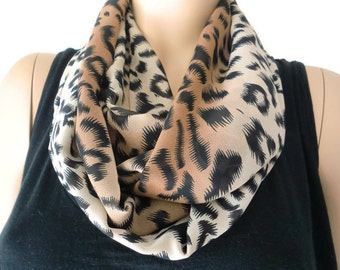 Chiffon leopard  Infinity scarf  cowl Brown,  Black and beige   Necklace scarf   animal print cowl-Tube version