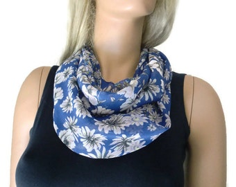 Royal blue/ cobalt floral infinity scarf - chiffon floral Scarf Cowl, loop circle scarf-Instant gratification...