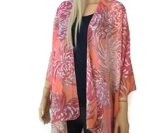 Boho Kimono- Salmon,pink and red floral  kimono with bold flower-Lagenlook style-Kimono cardigan -  Chiffon summer collection