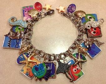 Disney Pixar's Finding Nemo Altered Art Charm Bracelet
