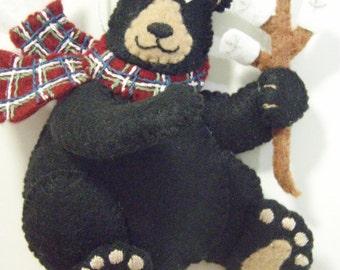Bucilla Felted BLACK BEAR ornament from Blackbear Bonfire Collection