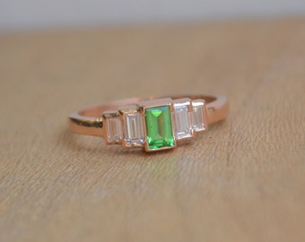 Rose Gold Diamond Ring, Baguette Ring, green gemstone ring, art deco gemstone ring, art deco diamond jewelry, gifts for moms