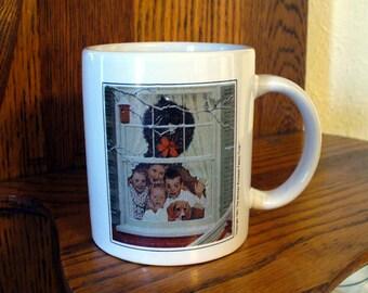 Norman Rockwell Family Christmas Mug Copyright 1951 Family Trust Vintage