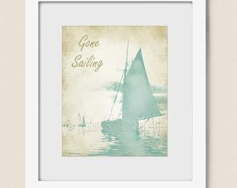 16 x 20 Sail Boat Wall Art, Tropical Colors, Gone Sailing Print, Sailing Wall Art, Tropical Wall Art, Boat Art Print, Sail Boat Print  (36)