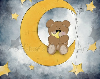 16 x 20 Baby Nursery Art Print, Moon and Stars Childrens Wall Art, Teddy Bear Art for Children, Babys Room Art   (25)