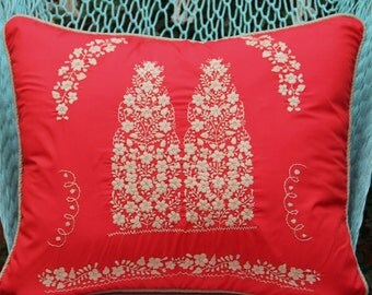 REd and Tan Puebla Collection  Sham created from huipil kaftans