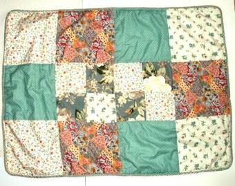 "VINTAGE patchwork BABY crib QUILT 35"" x 47"" cotton handmade,aqua,rust,blue,mustard,peach,olive,green,flowers"