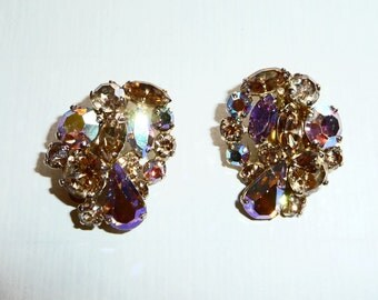 Vintage Sherman AB Rhinestone Clip Earrings on Etsy by APURPLEPALM