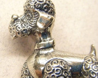Vintage brooch, sterling silver, sterling pin, poodle pin, sterling poodle, Danecraft pin,  ANIMAL CHARITY DONATION