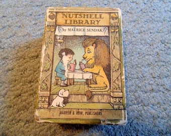Nutshell Library by Maruice Sendak 1962 set of 4 books mini books miniature size Pierre One was Johnny Alligators all Around Chicken soup