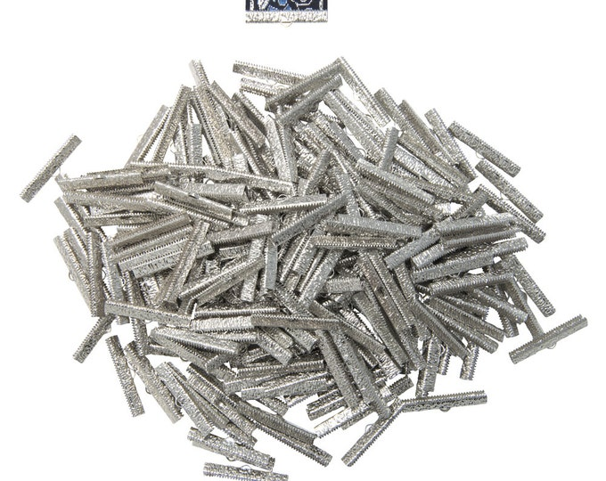 500pcs.  38mm  ( 1 1/2 inch )  Platinum Silver Ribbon Clamps - Artisan Series