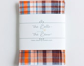 Pocket Square, Pocket Squares, Handkerchief, Mens Pocket Square, Boys Pocket Square, Wedding Pocket Squares - Navy And Orange Madras Plaid