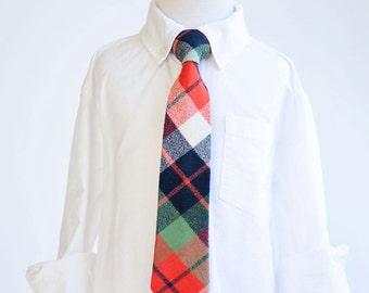 Necktie, Neckties, Boys Tie, Baby Tie, Boys Necktie, Plaid, Wedding Ties, Ties, Plaid Tie, Ring Bearer, Tie - Navy, Green, And Orange Plaid