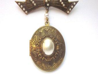 Large Locket Pendant Brooch Pearls