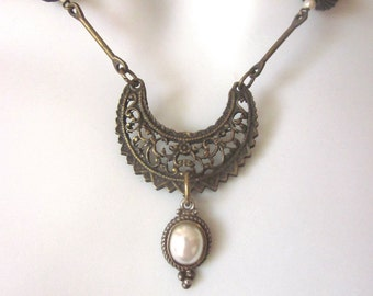 Assemblage Pearl Necklace One of a Kind Bohemian Jewelry