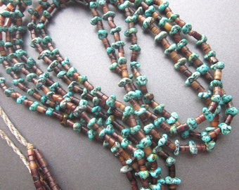 Turquoise Nugget Vintage Necklace Native American Beaded Triple Strand Natural Turquoise Heishi Southwest Jewelry