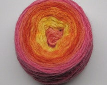 Gradient Yarn Peruvian Wool Hand dyed Worsted Weight Roy #2 Red Orange Mustard Yellow