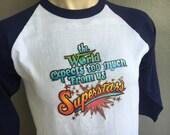 Superstars 1970s vintage baseball-sleeve tee shirt size medium