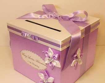 Wedding Card Box Lavender and White Gift Card Box Money Box Holder--Customize your color (10x10x9)