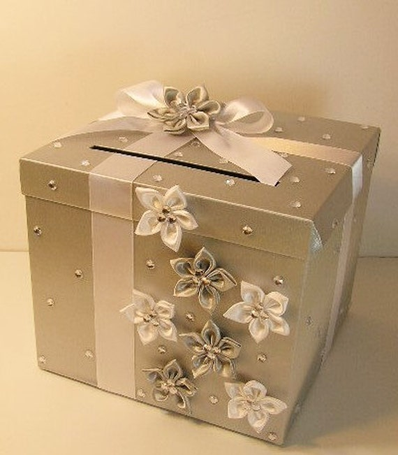 Silver Wedding Gift Card Holder : Wedding Card Box Silver and White Gift Card Box Money Box Holder ...