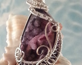 Sparkly Pomegranate Freeform Wire Wrap Druzy Pendant