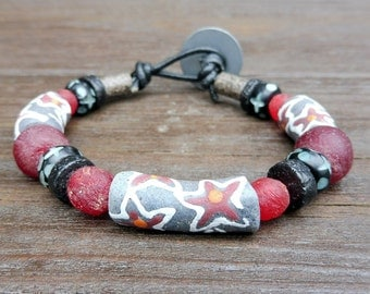 Gray Recycled Glass Bracelet - Gray Recycled Glass Krobo Beads, Red Recycled Glass Beads, Black Leather Bracelet