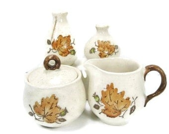 Woodland Gold Creamer Sugar Salt Pepper by Metlox stoneware
